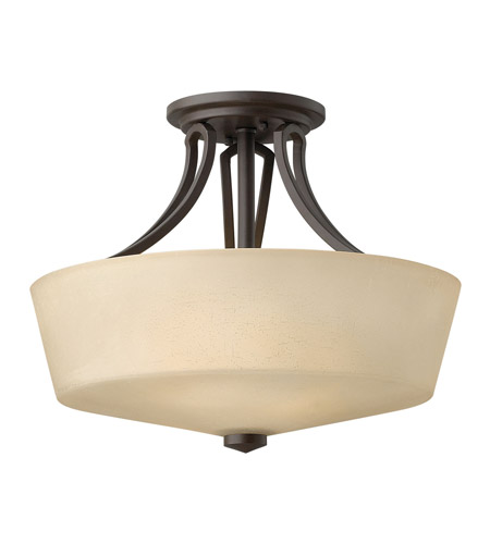 Hinkley 4431KZ Parker 2 Light 16 inch Buckeye Bronze Semi Flush Ceiling Light in Etched Amber Linen, Incandescent photo