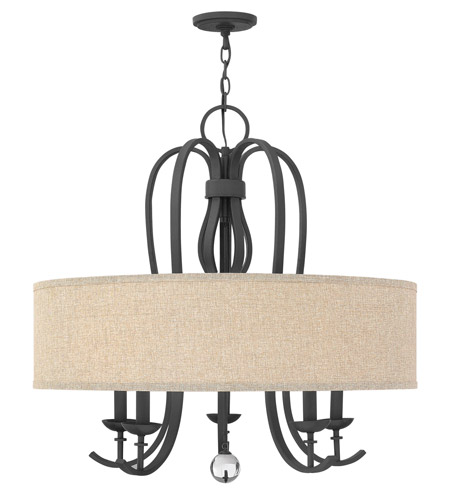 Hinkley 4473TB Marion 5 Light 30 inch Textured Black Chandelier Ceiling Light, Oatmeal Linen Shade photo