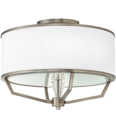 hinkley 4483en larchmere 3 light 18 inch english nickel foyer semiflush mount ceiling light
