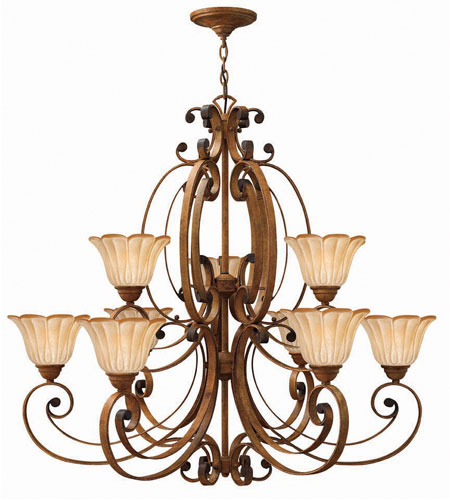Hinkley Petals 2 Tier 9Lt Chandelier in Antique Gold 4538AD photo