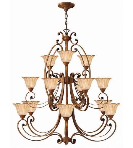 Hinkley Petals 3 Tier 15Lt Chandelier in Antique Gold 4539AD photo