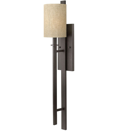 Hinkley 4549RB Sloan 1 Light 6 inch Regency Bronze Sconce Wall Light, Oatmeal Linen Shade photo