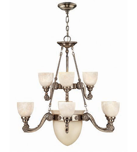 Hinkley 4559FP Vanderbilt 9 Light 38 inch French Pewter Chandelier Ceiling Light, 2 Tier photo
