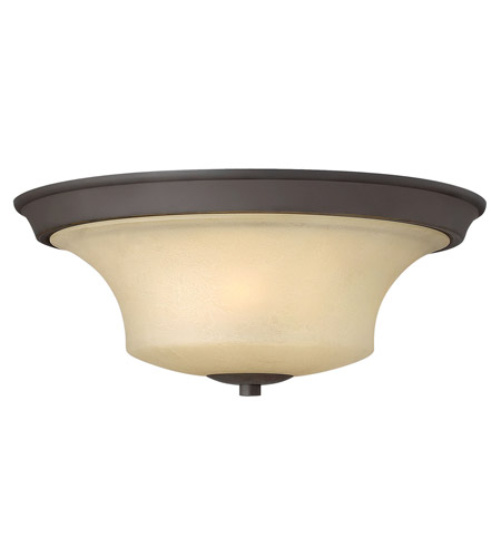 Hinkley 4631OZ Brantley 3 Light 17 inch Oil Rubbed Bronze Flush Mount Ceiling Light in Amber Etched, Incandescent photo