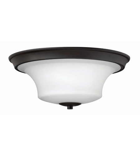 Hinkley 4631TB-LED Brantley LED 17 inch Textured Black Flush Mount Ceiling Light in Etched Opal photo