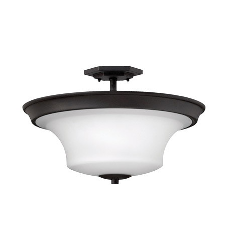 Hinkley 4632TB Brantley 3 Light 17 inch Textured Black Semi Flush Ceiling Light in Incandescent, Etched White photo