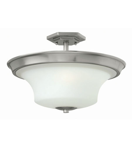 Hinkley 4632BN-LED Brantley LED 17 inch Brushed Nickel Semi Flush Ceiling Light in Etched Opal photo
