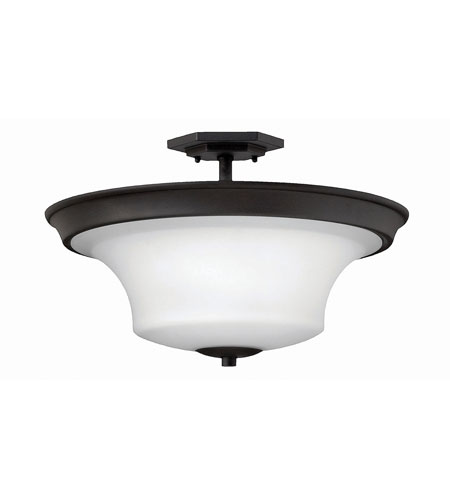 Hinkley 4632TB-LED Brantley LED 17 inch Textured Black Semi Flush Ceiling Light in Etched White photo