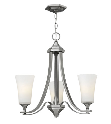 Hinkley 4633BN Brantley 3 Light 23 inch Brushed Nickel Chandelier Ceiling Light in Etched White, Etcher Amber Glass photo