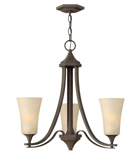 Hinkley 4633OZ Brantley 3 Light 23 inch Oil Rubbed Bronze Chandelier Ceiling Light in Amber Etched photo