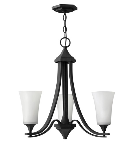 Hinkley 4633TB Brantley 3 Light 23 inch Textured Black Chandelier Ceiling Light in Etched White photo