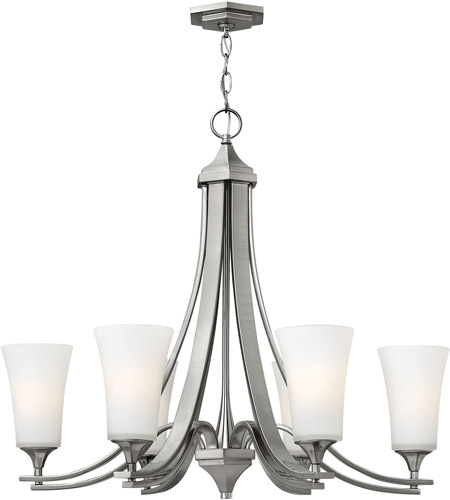 Hinkley 4636BN Brantley 6 Light 30 inch Brushed Nickel Chandelier Ceiling Light in Etched White, Etcher Amber Glass photo