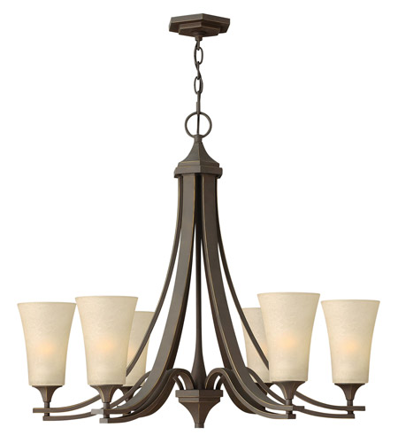 Hinkley 4636OZ Brantley 6 Light 30 inch Oil Rubbed Bronze Chandelier Ceiling Light in Amber Etched photo