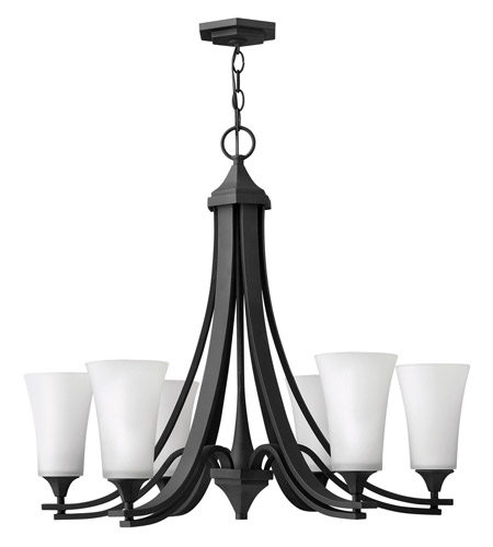 Hinkley 4636TB Brantley 6 Light 30 inch Textured Black Chandelier Ceiling Light in Etched White photo