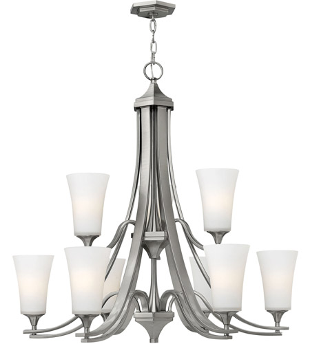 Hinkley 4638BN Brantley 9 Light 33 inch Brushed Nickel Chandelier Ceiling Light in Etched White, Etcher Amber Glass photo