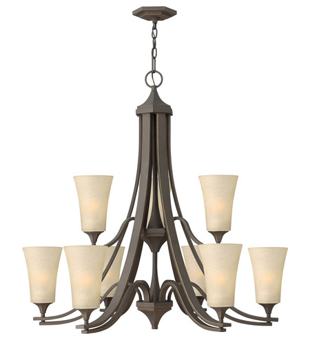 Hinkley 4638OZ Brantley 9 Light 33 inch Oil Rubbed Bronze Chandelier Ceiling Light in Amber Etched, 2 Tier photo