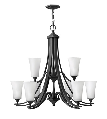 Hinkley 4638TB Brantley 9 Light 33 inch Textured Black Chandelier Ceiling Light in Etched White, 2 Tier photo