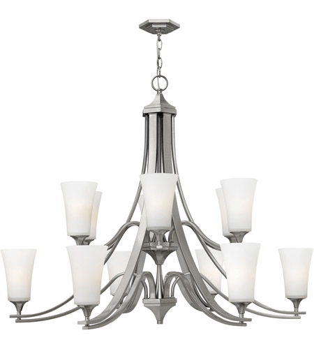 Hinkley 4639bn Brantley 12 Light 43 Inch Brushed Nickel Foyer Chandelier Ceiling Etcher Amber Gl