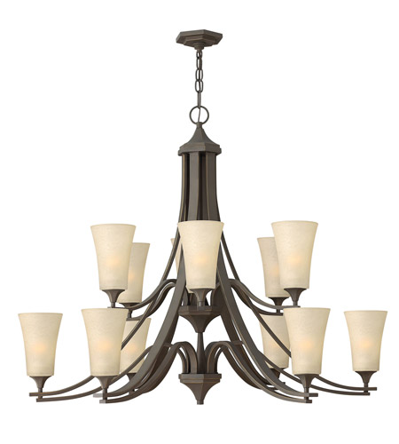 Hinkley 4639OZ Brantley 12 Light 43 inch Oil Rubbed Bronze Chandelier Ceiling Light in Amber Etched, 2 Tier photo