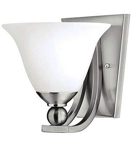 Hinkley 4650BN Bolla 1 Light 8 inch Brushed Nickel Sconce Wall Light in Etched Opal, Incandescent photo