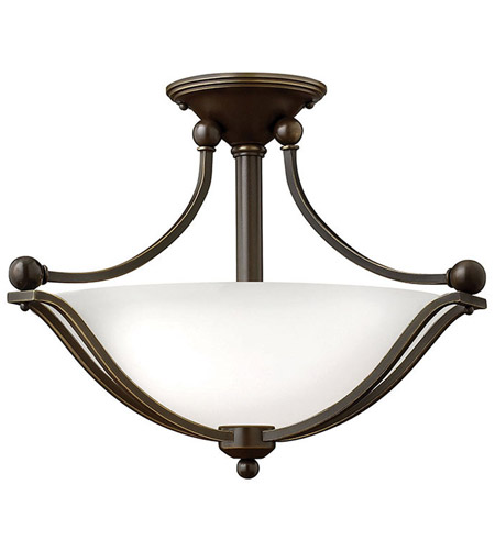 Hinkley 4651OB-OP-LED Bolla 2 Light 19 inch Olde Bronze Semi Flush Ceiling Light in Etched Opal, LED photo