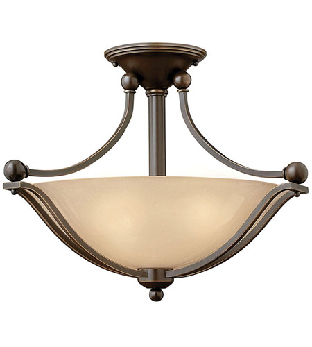 Hinkley 4651OB Bolla 2 Light 19 inch Olde Bronze Semi Flush Ceiling Light in Amber Seedy, Incandescent photo