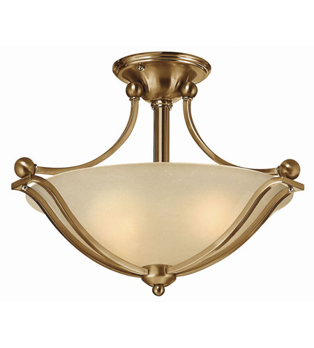Hinkley 4651BR-LED Bolla LED 19 inch Brushed Bronze Semi Flush Ceiling Light in Light Amber Seedy photo