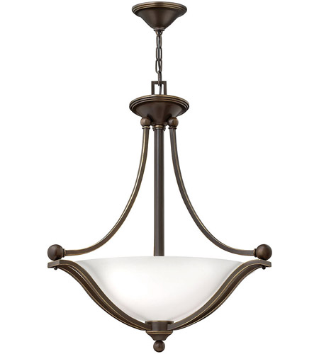 Hinkley 4652OB-OPAL Bolla 3 Light 23 inch Olde Bronze Foyer Ceiling Light in Etched Opal, Incandescent photo