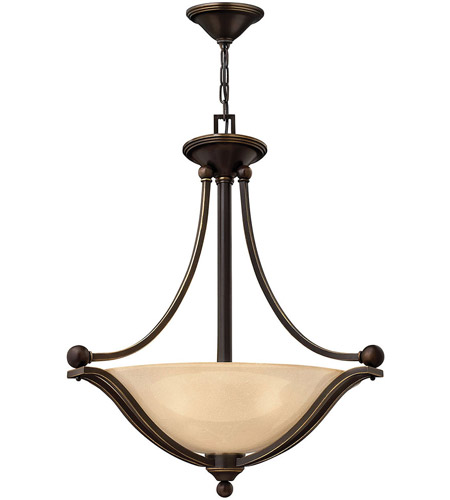 Hinkley 4652OB Bolla 3 Light 23 inch Olde Bronze Inverted Pendant Ceiling Light in Amber Seedy, Incandescent photo