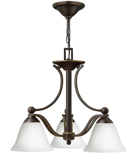 Hinkley 4653OB-OPAL Bolla 3 Light 23 inch Olde Bronze Chandelier Ceiling Light in Etched Opal photo