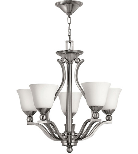 Hinkley 4655BN Bolla 5 Light 24 inch Brushed Nickel Foyer Chandelier Ceiling Light in Etched Opal photo