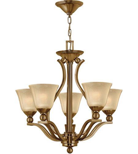 Hinkley 4655BR Bolla 5 Light 24 inch Brushed Bronze Chandelier Ceiling Light in Light Amber Seedy photo