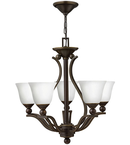 Hinkley 4655OB-OPAL Bolla 5 Light 24 inch Olde Bronze Chandelier Ceiling Light in Etched Opal photo