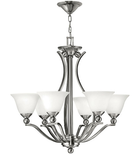 Hinkley 4656BN Bolla 6 Light 29 inch Brushed Nickel Chandelier Ceiling Light in Etched Opal photo