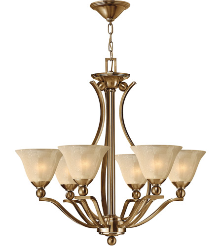 Hinkley 4656br Bolla 6 Light 29 Inch Brushed Bronze Foyer Chandelier Ceiling In Amber Seedy