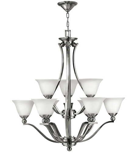 Hinkley 4657BN Bolla 9 Light 35 inch Brushed Nickel Chandelier Ceiling Light in Etched Opal, 2 Tier photo
