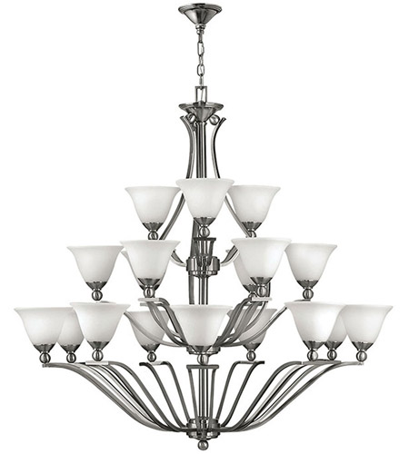 Hinkley 4659BN Bolla 18 Light 48 inch Brushed Nickel Chandelier Ceiling Light in Etched Opal, 3 Tier photo