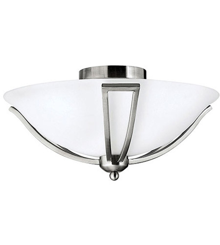 Hinkley 4660BN Bolla 2 Light 17 inch Brushed Nickel Semi Flush Ceiling Light in Etched Opal, Incandescent photo