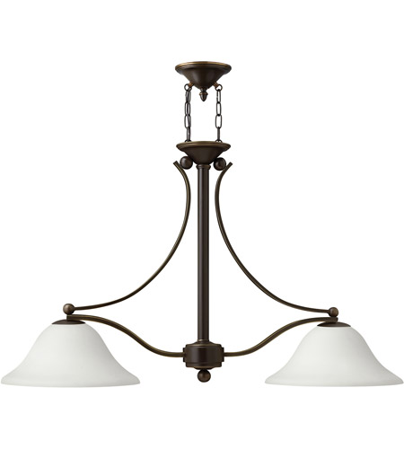 Hinkley 4662OB-OPAL Bolla 2 Light 44 inch Olde Bronze Chandelier Ceiling Light in Etched Opal photo
