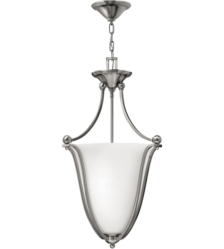 Hinkley 4663BN Bolla 3 Light 16 inch Brushed Nickel Hanging Foyer Ceiling Light in Etched Opal photo