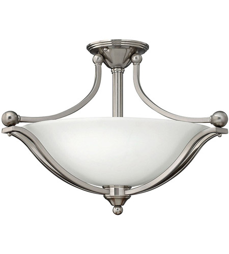 Hinkley 4669bn Bolla 3 Light 23 Inch Brushed Nickel Foyer Semi Flush Mount Ceiling In Incandescent Etched Opal