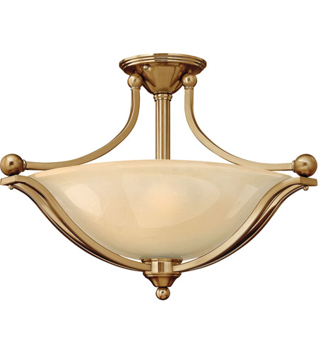 Hinkley 4669BR Bolla 3 Light 23 inch Brushed Bronze Semi Flush Ceiling Light in Light Amber Seedy, Incandescent photo