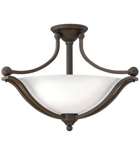 Hinkley 4669OB-OPAL Bolla 3 Light 23 inch Olde Bronze Semi Flush Ceiling Light in Etched Opal, Incandescent photo
