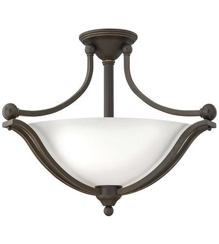 Hinkley Lighting Bolla 3 Light Semi Flush in Olde Bronze 4669OB-OPAL
