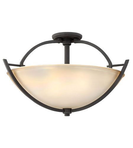 Hinkley Lighting Valley 3 Light Semi Flush in Vintage Black 4702VK