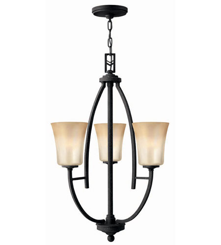 Hinkley Lighting Valley 3 Light Chandelier in Vintage Black 4703VK