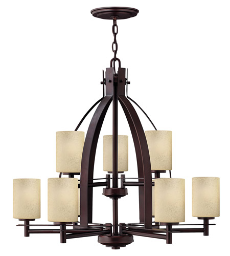 Hinkley 4728MC Stowe 9 Light 30 inch Metro Copper Chandelier Ceiling Light, 2 Tier photo