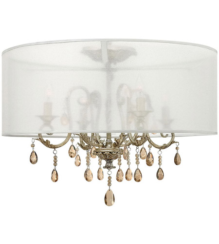 Hinkley 4771sl Carlton 4 Light 24 Inch Silver Leaf Foyer Semi Flush Mount Ceiling