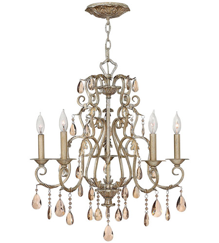 Hinkley 4775SL Carlton 5 Light 24 inch Silver Leaf Foyer Chandelier Ceiling Light photo