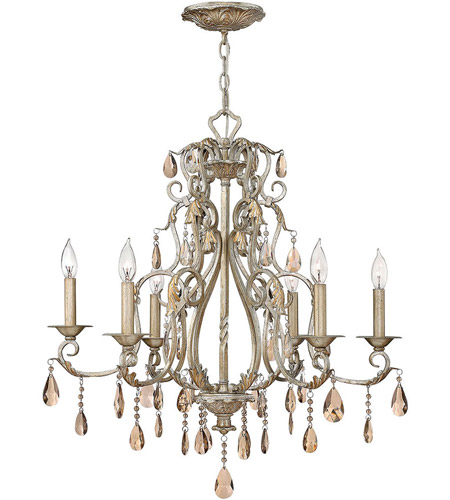 Hinkley 4776SL Carlton 6 Light 28 inch Silver Leaf Chandelier Ceiling Light photo